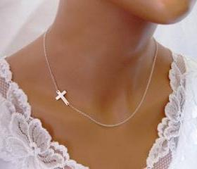Stylish Celebrity Sideways Cross Necklace - Gold or Silver Plated
